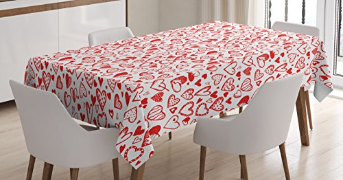 Hearts Sketch (Lunarable Hearts Tablecloth by, Monochrome Valentines Day Inspired Cute Hearts Sketch Drawing Style Symbols, Dining Room Kitchen Rectangular Table Cover, 60 W X 84 L Inches, Vermilion White)