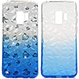 Galaxy S9 Case, S9 Kawaii Crystal Clear Case Gradient Shiny Sparkle Shockproof Soft TPU Bumper Shell Shock Absorption Ultra Slim Lightweight Drop Resistant Rubber Silicone Cover for Samsung Galaxy S9