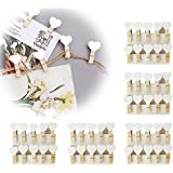 50pcs Mini Wooden White Love Heart Pegs Photo Paper Clips Wedding Decor Craft (KE0010 x 5)