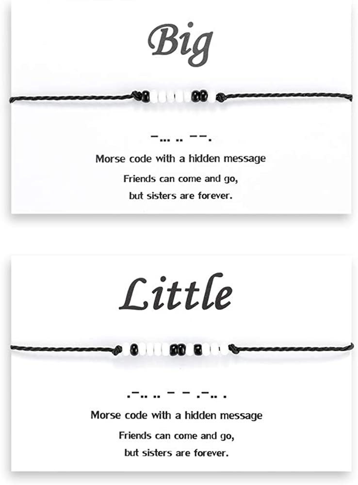Seyaa Big Little Sister Bracelets Set for 2 Matching Best Friend Relationship Bracelet Morse Code Jewelry