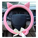 pink hubcaps - Cute Winter Advanced Cat Ears Car Steering Wheel Cover Wrap Car Interior Trim Pink