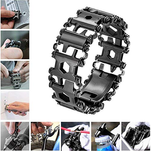 Diamond Survival Multitools Bracelet Black, Travel Friendly Wearable Multitool