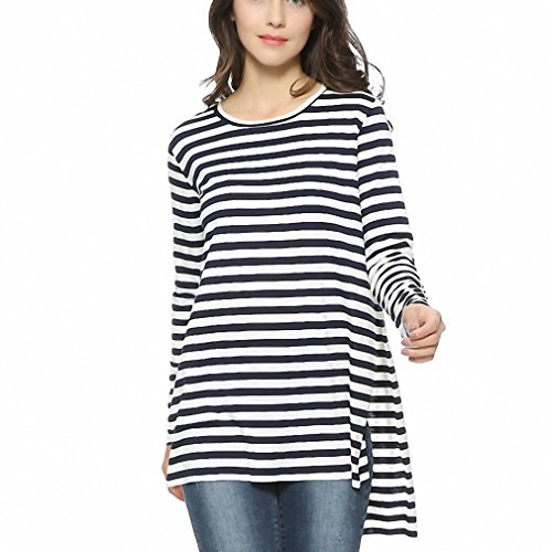 [Women loose side split long T shirt O-neck long sleeve cozy shirts bacis brief stripped Femininas European casual tops as picture L] (Baci T-shirt)