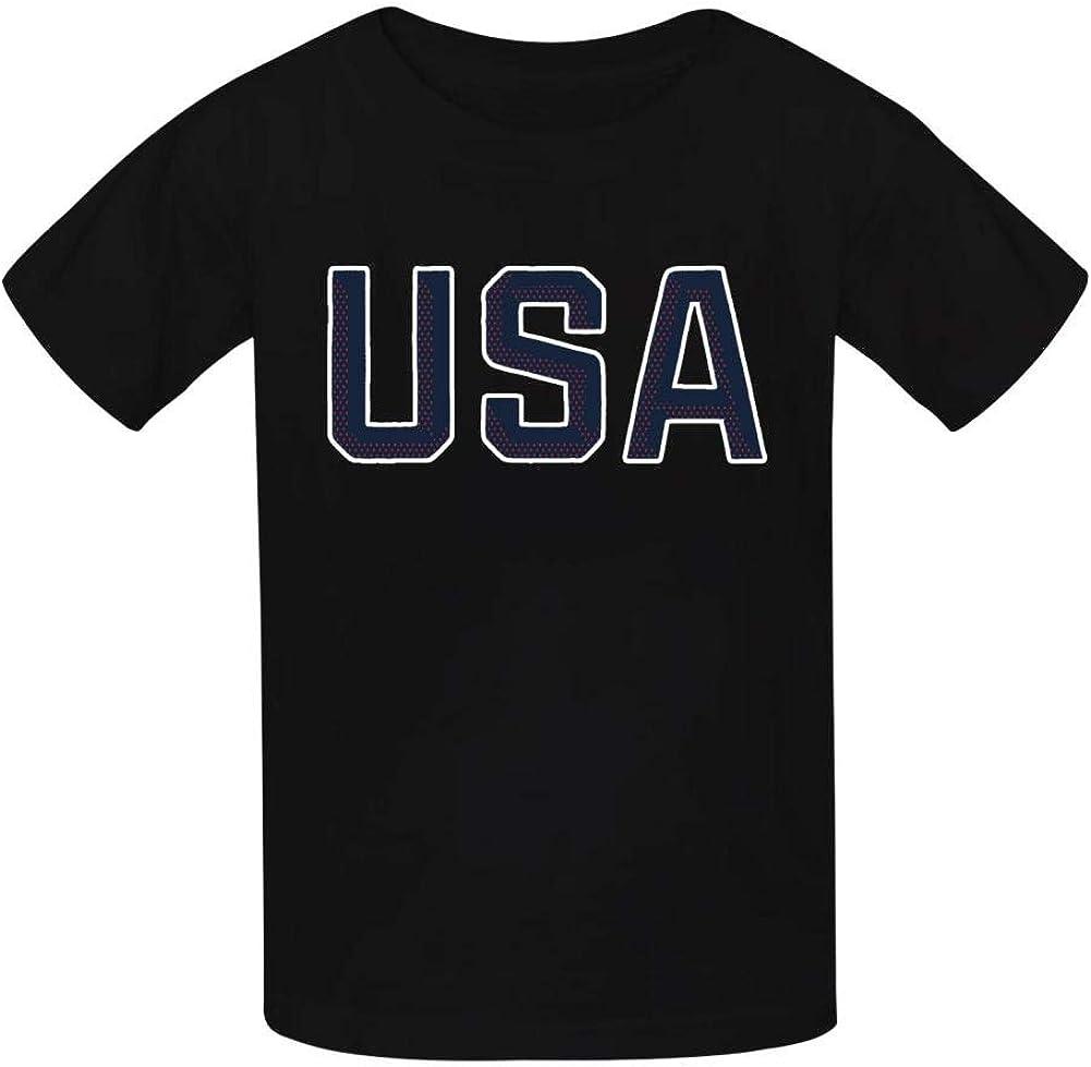 Dan-Wood USA Champion Number Jersey Youth Kids T-Shirts Cotton Fashion Graphic Print Tee
