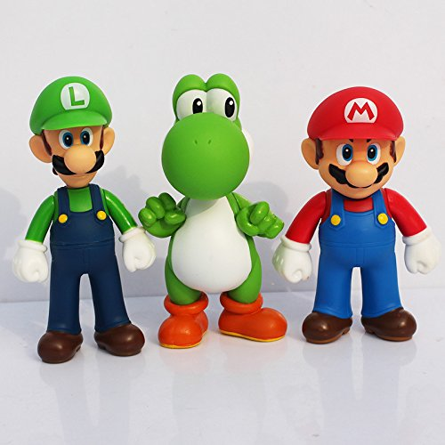 (lovemmm Super Mario Bros Luigi Yoshi Figures Toys Cake Topper 3 Sets ( 5 inches/ 13cm ))
