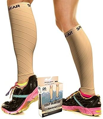 Physix Gear Sport Compression Calf Sleeves for Men & Women (20-30mmhg) - Best Footless Compression Socks for Shin Splints, Running, Leg Pain, Nurses & Maternity Pregnancy - Increase Blood Circulation