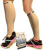 Physix Gear Sport Compression Calf Sleeves for Men & Women (20-30mmhg) - Best Footless Compression Socks for Shin Splints, Running, Leg Pain, Nurses & Pregnancy - Increase Circulation - NUDE S/M - M/L