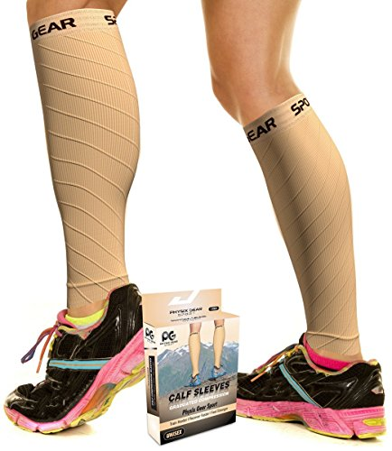 Physix Gear Sport Compression Calf Sleeves for Men & Women (20-30mmhg) - Best Footless Compression Socks for Shin Splints, Running, Leg Pain, Nurses & Pregnancy - Increase Circulation - NUDE - Discount Sports Warehouse