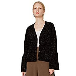 Chesslyre Womens 2 Ply Black Cashmere Cardigan Sweater Tie Cashmere Sweater Tunic Lace Up Sleeve Ladies Cashmere Cardigan Plus Size