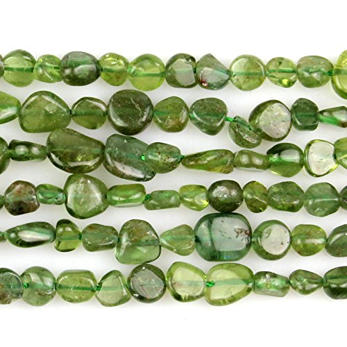 JARTC Natural Irregular Shape Stone Beads 6-8mm Hiddenite Gemstone Energy Cured for Jewelry Making Necklaces ()