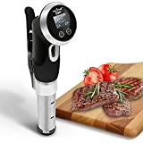 NutriChef PKPC235BK Small Appliance Precision Cooker Thermal Immersion Circulator Machine Stainless Steel Front View Display, Cook Meat to Perfection 120V Black