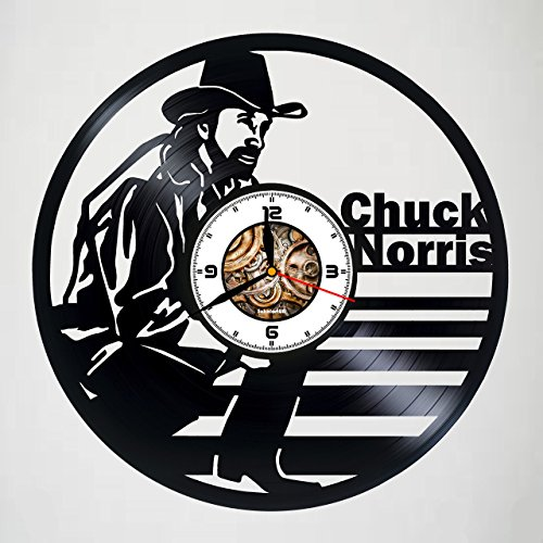 Chuck Norris - Texas Ranger - Handmade Vinyl Wall Clock - Gift idea for birthday, christmas, women, men, friends, girlfriend boyfriend and teens - living kids room nursery - Customize your clock ! ()
