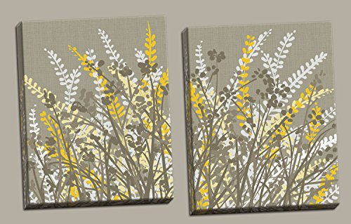 (Gango Home Décor 2 Gray-Taupe, White and Yellow Floral Meadow Print Set; Two 16x20in)