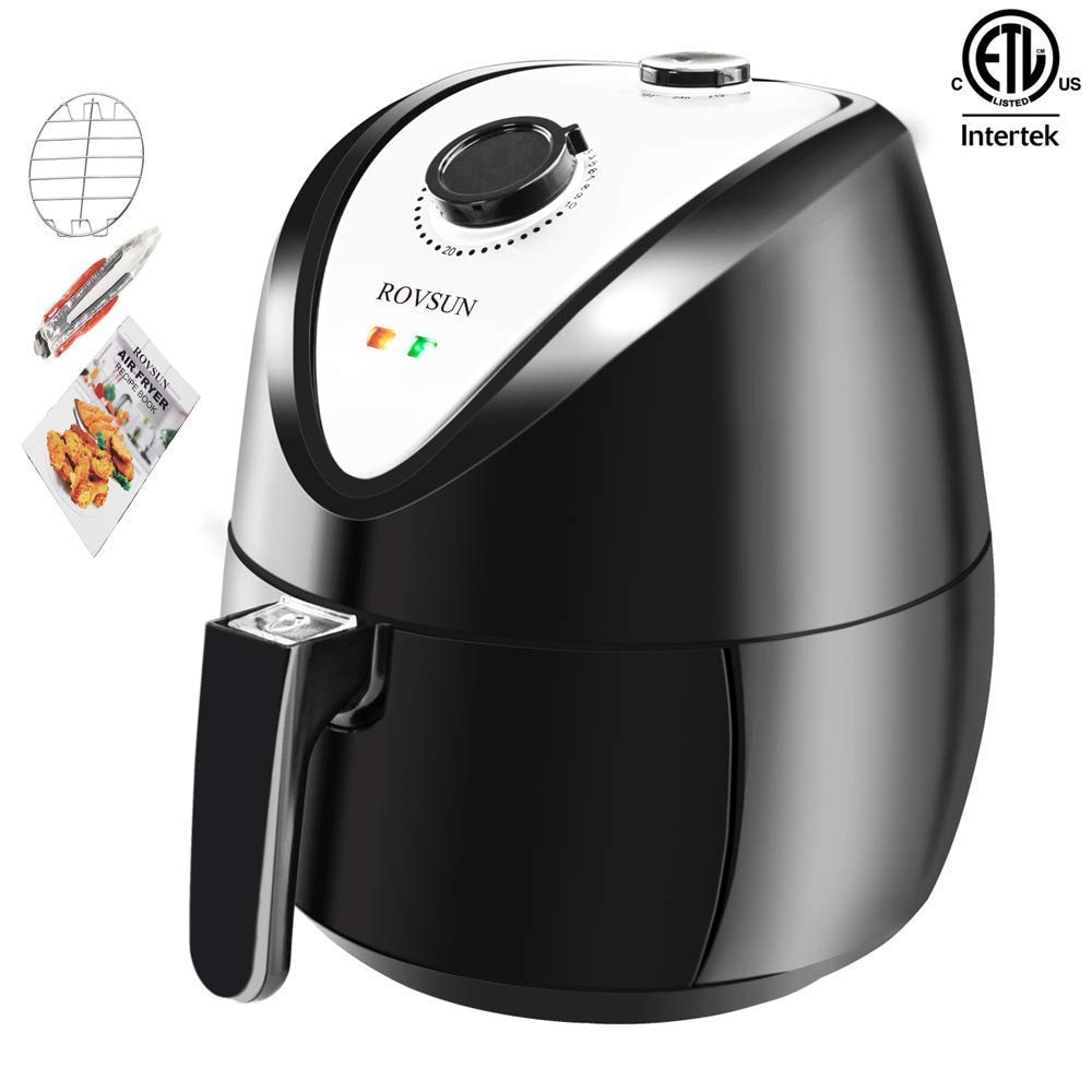 ROVSUN Electric Air Fryer 3.7QT Capacity, ETL 1300W Air Frying Technology w/Temp and Time Control,Removable Dishwasher Safe Basket, Includes Metal Holder and Cooking Tongs, ETL Listed