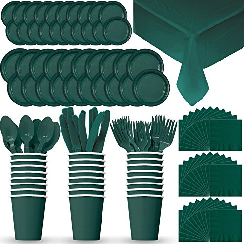 Disposable Paper Dinnerware for 24 - Hunter Green - 2 Size plates, Cups, Napkins , Cutlery (Spoons, Forks, Knives), and tablecovers - Full Party Supply (Hunter Green Plastic Table)