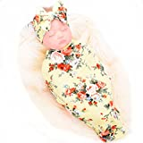 Newborn Receiving Blanket Headband Set Flower Print
