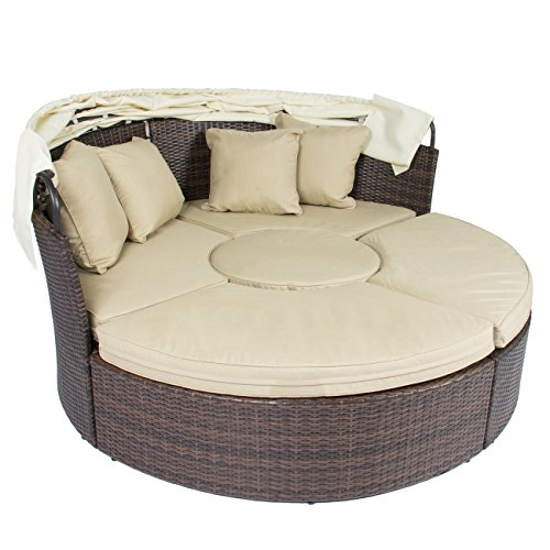 Outdoor patio sofa furniture round retractable canopy Outdoor sofa tables