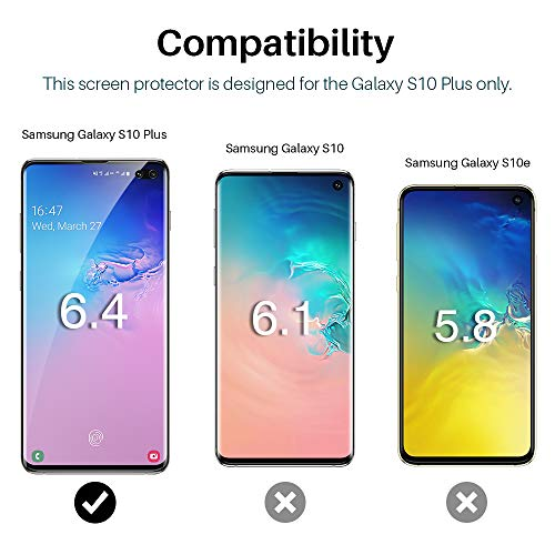 [3 Pack] L K Screen Protector for Samsung Galaxy S10 Plus, [Self Healing] [in-Display Fingerprint] [Easy Install positioning tool] HD Effect Flexible Film