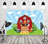 7x5ft Photography Background Red Barn Farm Birthday Backdrop Livestock Grass Backdrops Photo Booth Shoot Blue Sky Props Warehouse Polyester Fabric Birthday Party Decorations W-811