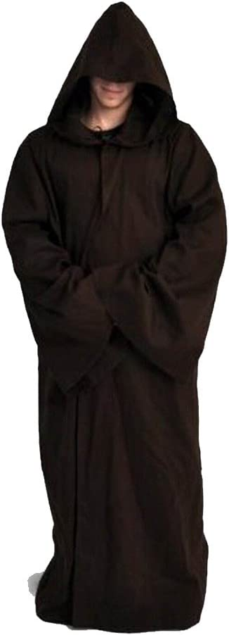 Fuman Jedi Robe Deluxe Cosplay Kost/üm Umhang mit Kapuze Schwarz S