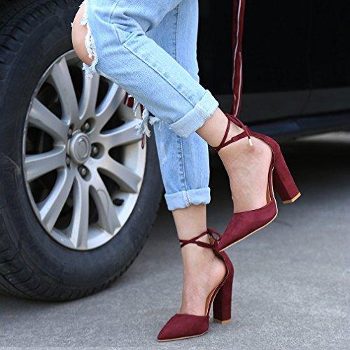 Élégant Chaussures Rouge Cheville Suède Enroulé Sandals à Minetom Profondes Femme Nœud Talons Vin Sandales Lacets Talons Eté Hauts Peu Bouche ExnfTHq