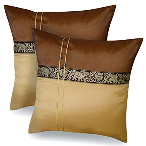One Pair Brown Gold Elephant Stripe Throw Cushion Cover/Pillow Case Thai Silk for Decorative Sofa, Car and Living Room Size 16 X 16 Inches by cozymomo