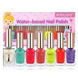 Emosa Nail Polish - Non-Toxic Water Based Peelable Natural, Safe and Chemical Free, Kids Friendly Makeup Set for Little Girls (6 Bright Colors Kit with 1 Top Coat)