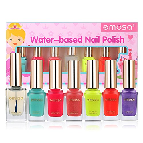 Emosa Nail Polish - Non-Toxic Water Based Peelable Natural, Safe and Chemical Free, Kids Friendly Makeup Set for Little Girls (6 Bright Colors Kit with 1 Top Coat) (Peel Girls)