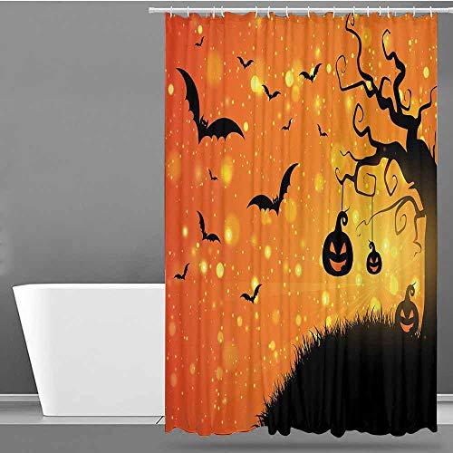 VIVIDX Home Decor Shower Curtain,Halloween,Magical Fantastic Evil Night Icons Swirled Branches Haunted Forest Hill,Bathroom Decoration,W94x72L Orange Yellow -