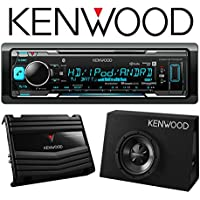 Kenwood KMM-BT518HD In-Dash Digital Media Receiver with Built-in Bluetooth and HD Radio and Kenwood P-W100B Vented Enclosure Box Subwoofer with 400W Amplifier