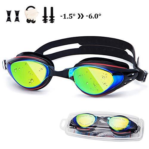 UTOBEST Prescription Swimming Goggles with Degree UV Protection Anti-Fog No Leaking Swim Goggles with Ear Plugs for Kids Women Men (Black, -6.0) (Swim Prescription Goggles)