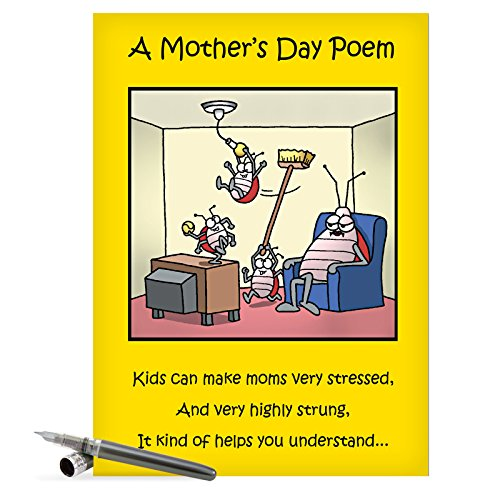 J0045 Jumbo Funny Mother's Day Card: Moms Day Poem With Envelope (Extra Large Version: 8.5'' x 11'')