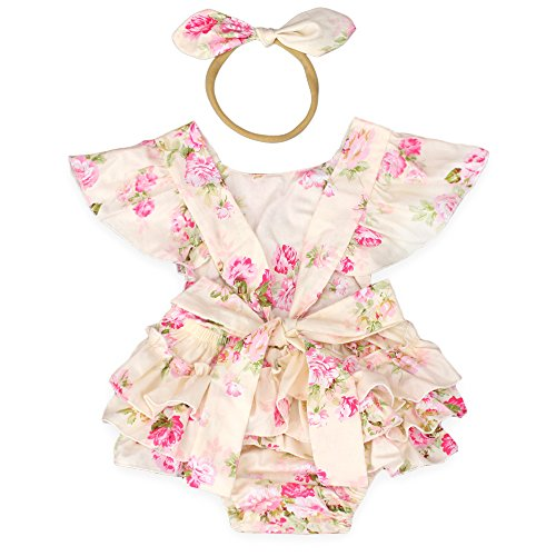 (Luckikikids Baby Girls Cotton Vintage Floral Ruffle Rompers Clothing Headband Set (M(6-12M),)