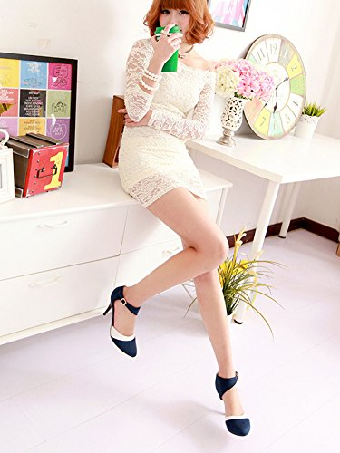 Colore Periodo Scarpe Shoes Donne Pump Scamosciato Minetom Stiletto Blu Décolleté Semplice Elegante Con Alto Di Tacco Scarpe OPwdExqZ