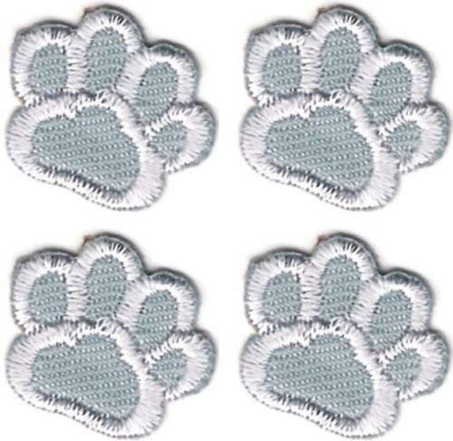 OOHHOO Lot of 4 Silver Gray Grey White Dog Animal Paw Print Embroidery Patch