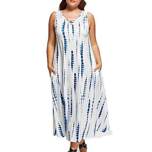 ZOMUSA Hot Sales Plus Size Hippie Boho Women 3/4 Sleeve/Sleeveless Low V Neck Maxi Long Dress With Pocket (XXXXXL, White) -