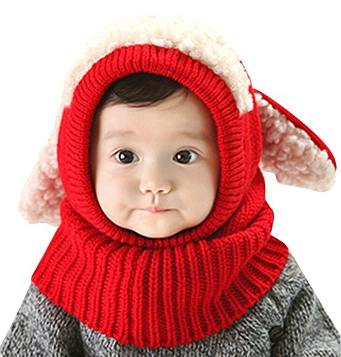 Knitted Check Scarf - Elfjoy New Year Gift Baby Girls Boys Earflap Hood Scarf Winter Knitted Hat Cute Dog Style Crochet Caps (Red)