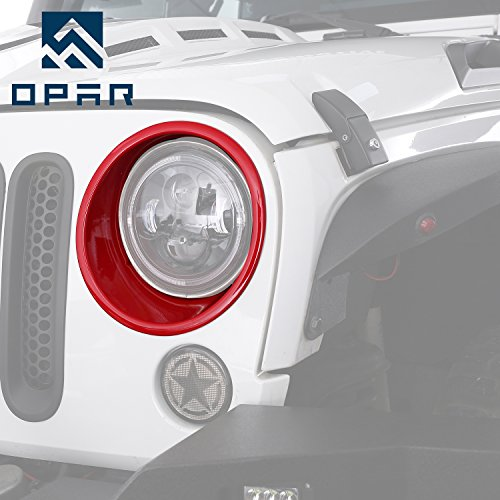 Opar Red Headlight Bezels Cover Trim for 2007-2018 Jeep Wrangler JK & Wrangler Unlimited