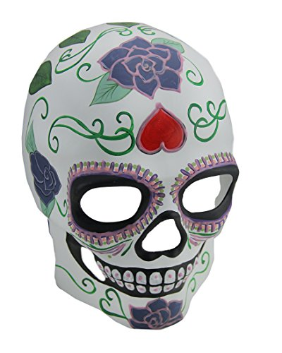 Zeckos Colorful Glow in The Dark Full Face Sugar Skull (Pretty Skull Halloween Makeup)