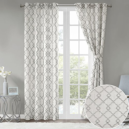 Comfort Spaces 2 Panel Curtains - Bridget Faux Linen Window Curtains 84 inch Length Grommet Top with Tie Backs - White/Grey Fretwork Embroidery Design