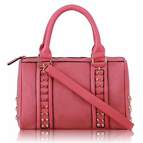 xardi London Mujer studded barril bolsa de hombro piel sintética mujer oficina Cruz Bolsos cuerpo Rosa - rosa