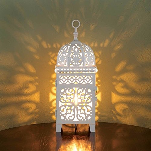 (White Scrollwork Table Lamp Light Led Bulb Intricate Cutout Pattern Decor)