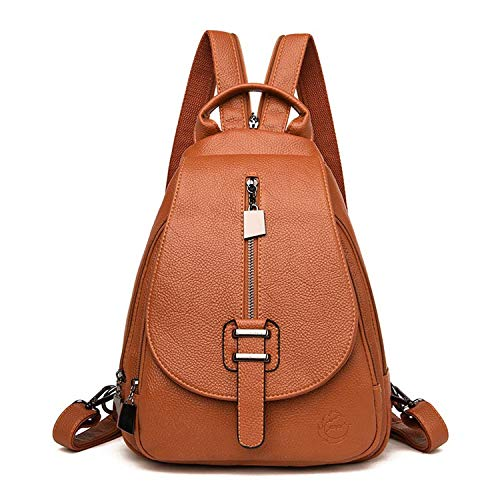 Women Leather Backpack Classic Backpack Ladies Travel Backpack For Teenage Girls School Bags,Brown,17 Inches