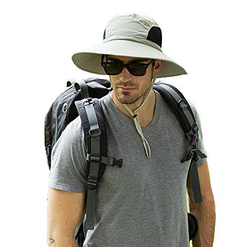 Men's Waterproof Sun Hat, Summer UV Protection Bucket Mesh Boonie Cap with Adjustable Drawstring for Fishing, Hiking, Camping, Boating & Outdoor Adventures (Khaki)
