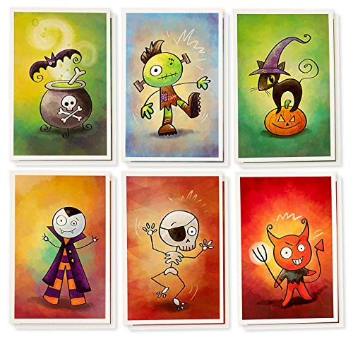 Halloween Note Cards - 48-Pack Halloween Greeting Cards Bulk Box Set - Pumpkin and Cat, Frankenstein, Vampire, Skeleton, Devil, Witch's Brew Designs - Envelopes Included - 4 x 6 -