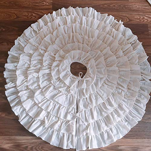 Ruffled Skirt Charm (yuboo 50 inch Large White Burlap Christmas Tree Skirt, 6-Layer Ruffled Tree Skirt Rustic Xmas Tree Holiday Decorations (White Burlap))