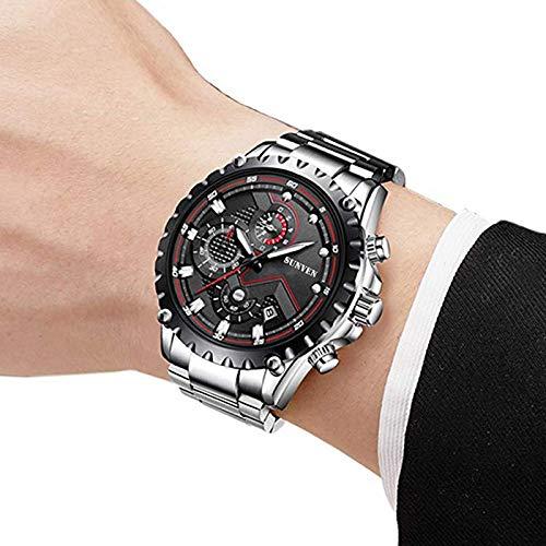 Relojes SUNVEN para Hombre Cuarzo Resistente al Agua - Reloj de Pulsera empresarial de Zafiro de Acero Inoxidable Pantallas multifunción Manos Luminosas (Negro)