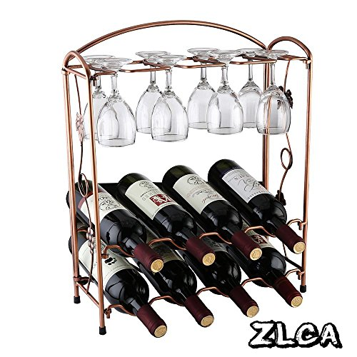 Grapevine Wine Rack - ZLCA Elegant Countertop Stainless Steel Tabletop Wine Glass Drying Folding Rack Stand Hold 4 Wine Glass and 8 Bottles of Wine