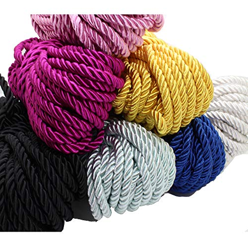 (20 bundlesx5yds(100 yards)1/5''- 5mm 3 braided Cord Thread Decorative Twisted Satin Polyester Twine Cord Rope String Thread Shiny Cord Choker Thread DIY Cord Jewelry Findings GD20SC150)
