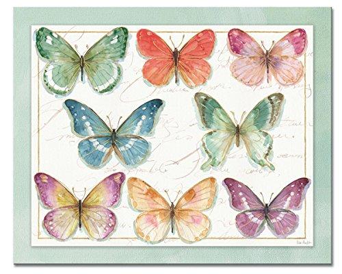 (CounterArt 'Rainbow Butterflies' Glass Cutting Board, 15 x 12
